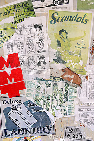 1950s Style Poster and Sticker Art Montage Editorial Photography
