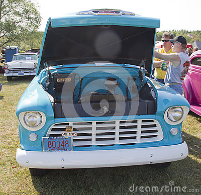 1955 Chevy Aqua Blue Truck Front View Editorial Stock Image