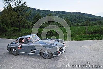 A 1955 Dark gray Mercedes 300 SL W198-I Editorial Photo