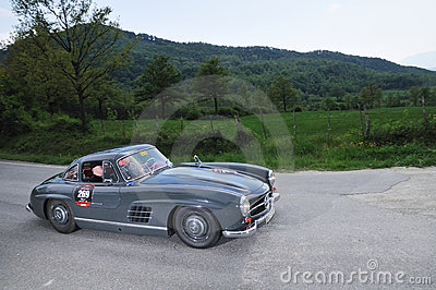 A 1955 Mercedes 300 SL gullwing at 1000 Miglia Editorial Stock Image