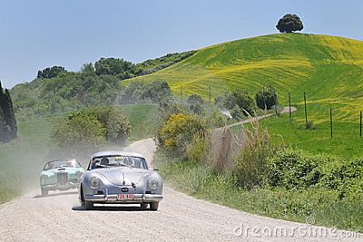 1955 PORSCHE 356 Pre-A coupe 1500 at 1000 Miglia Editorial Photo
