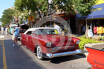 1955 rode Chevrolet Redactionele Fotografie