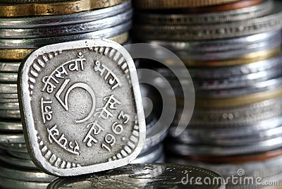 1963 printed 5 Paisa indian currency coin