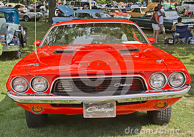 1972 Orange Dodge Challenger Front View Editorial Stock Photo