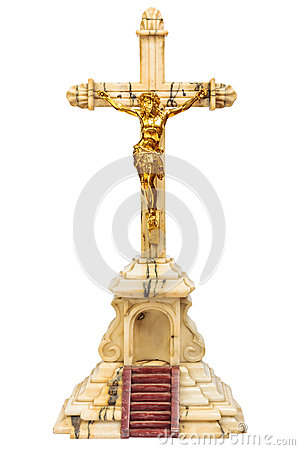 19th Century crucifix with golden Jesus figure