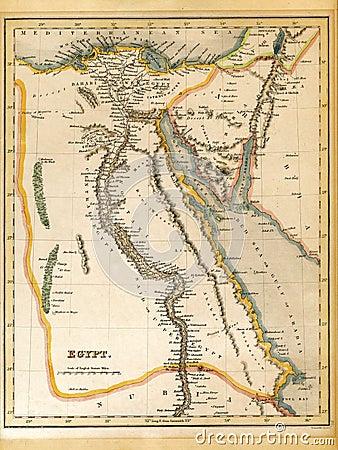 Free 19th Century Egypt Map Royalty Free Stock Image - 29994686