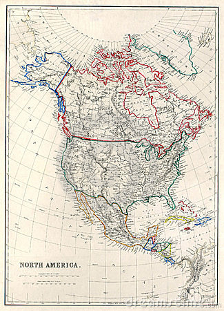 Free 19th Century Map Of North America Royalty Free Stock Image - 11704946