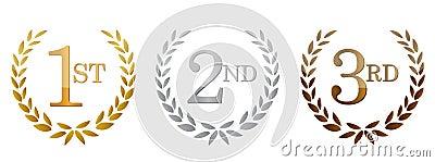 1st; 2nd; 3rd nagród złoci emblematy.