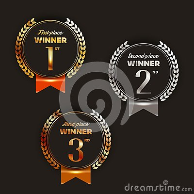 Free 1st, 2nd, 3rd Place Logo`s With Laurels And Ribbons. Stock Photo - 112340140