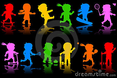 2个五颜六色的孩子剪影