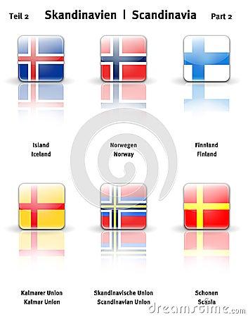 2个光滑的图标分开斯堪的那维亚