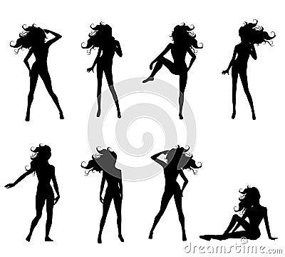 2个女性姿势性感的剪影