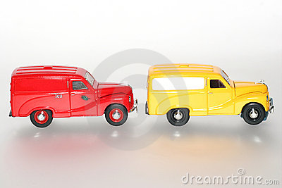 2 1953 Austin A40 in a line classic toy car sideview