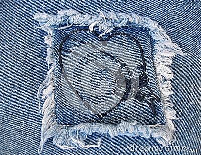 сердце джинсовой ткани 2
