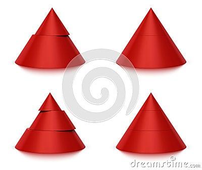 2 3个3d圆锥形级别形状