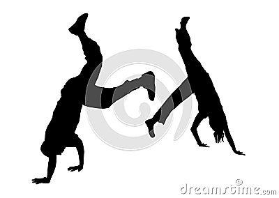 2个舞蹈演员战斗街道