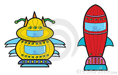 2 alien rocket spaceship