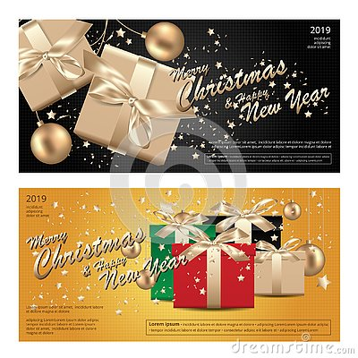 Free 2 Banner Merry Christmas & Happy New Year Template Background Royalty Free Stock Photo - 132218935