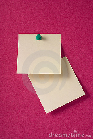 2 blank yellow adhesive notes on red