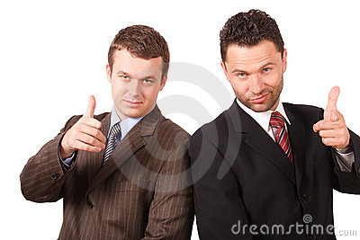 2 business men pointing at you