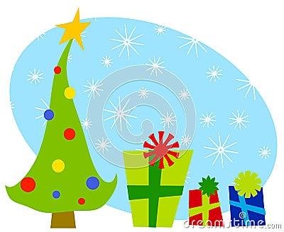 2 cartoonish prezentów świąteczną choinkę