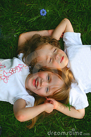 Free 2 Children In The Grass Stock Photography - 4999472