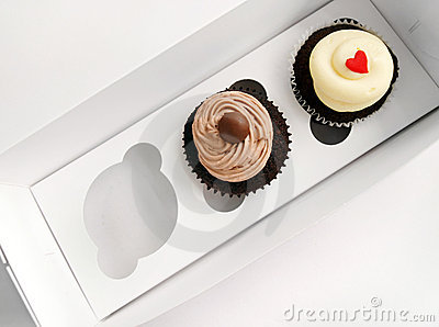 2 cupcakes in special carrier box