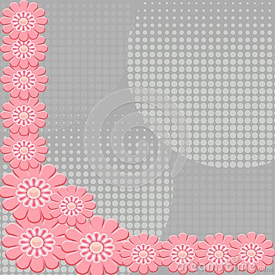 2-D Pink flowers on interesting gray background
