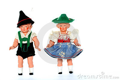 2 Dolls with traditional European dresses