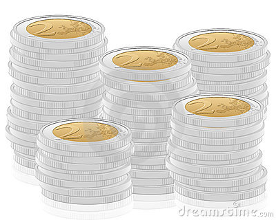 2 euro coins stack