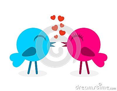 2 falling in love birds