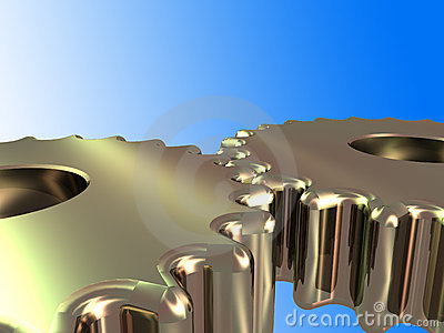 2 gold cogs w/ clipping path