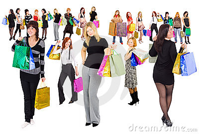 2 groups of shopping girls