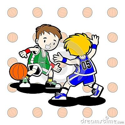2 Kids playing basketball