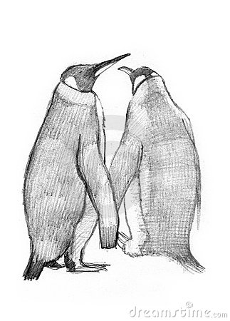 2 King Penguins drawing