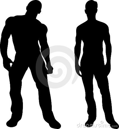 Free 2 Men Silhouettes On White Royalty Free Stock Photography - 12554017