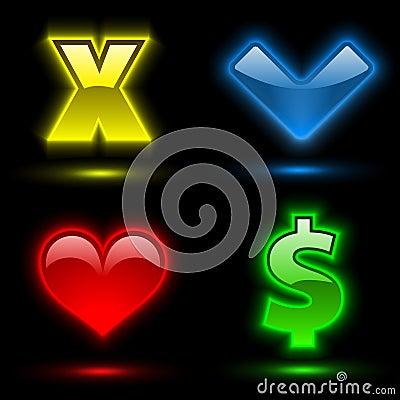 2 olika färgrika fyra tecken