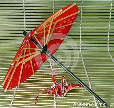 2 origami japończyków parasolkę
