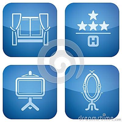 2.os ajustado iconos del cobalto fijados: Hotel