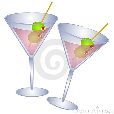 2 Pink Martini Glasses Olives