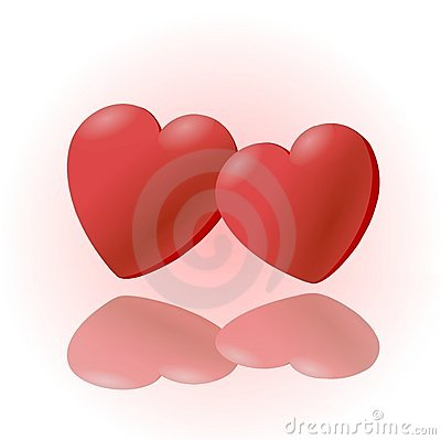 2 red heart  clipart