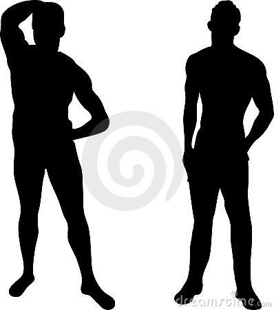 2 sexy men silhouettes on white