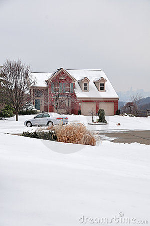 2-story Brick House In Winter