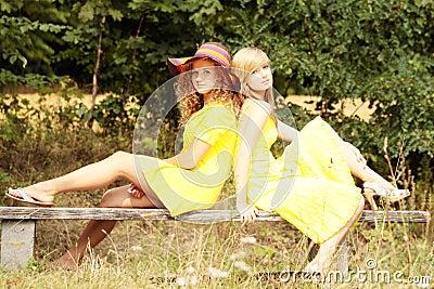 2 teen woman relaxing