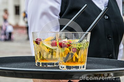 2 Whisky Glasses Filled With Beverage On Black Tray Free Public Domain Cc0 Image