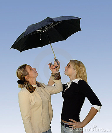 Free 2 Women Under The Umbrella Royalty Free Stock Photos - 62998