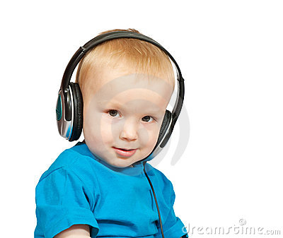 2 years old boy with headphones