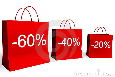 20, 40, and 60 Percent Off Shopping Bags