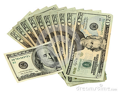 20 Dollar Bills with one 100 Dollar Bill