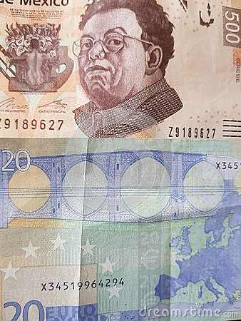 Free 20 Euro Note And 500 Pesos Of Mexico, Background And Texture Royalty Free Stock Photography - 115307127